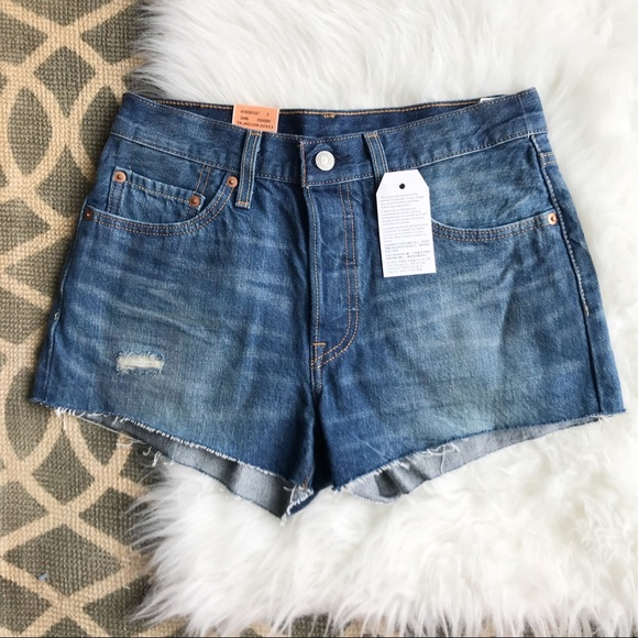 Re/done By Levis Woman Frayed Denim Shorts Blush Size 27 Re/Done B1I3I6Y